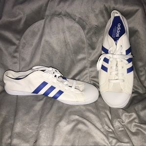 ADIDAS Cloth White & Blue Striped Shell Toed Shoes